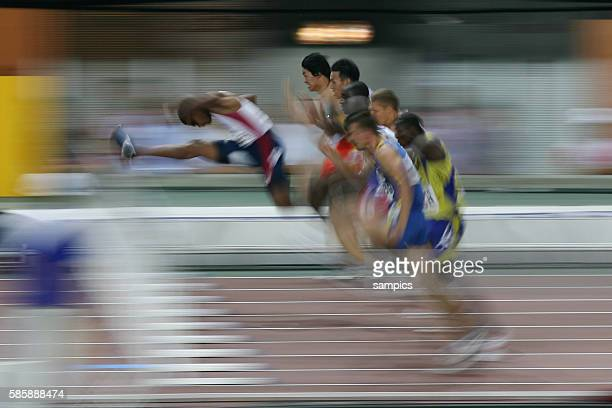 Blurry athletes during the 11th IAAF World Championships in Athletics at Nagai stadium of Osaka Japan