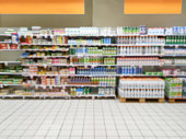 Blurry supermarket interior background (Beverages Area)