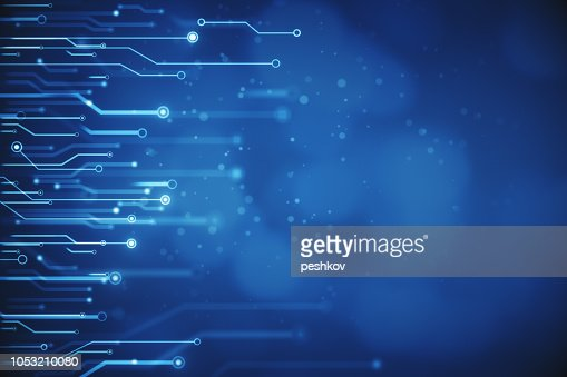 Blurry blue circuit wallpaper : Stock Photo