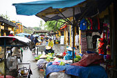 Blurry image of a colorful market on the streets of Hanoi in Vietnam.