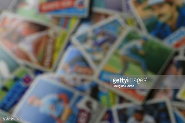 Blurry Image Of collectors baseball trading cards