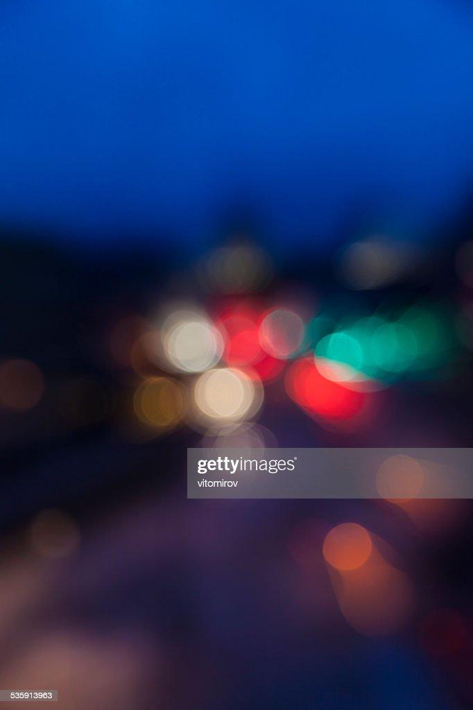 Borrosa luces de fondo bokeh, calle y semáforo : Foto de stock