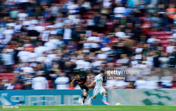 Blurry view of the action between Benjamin Verbic of FC Copenhagen and Marcel Romer of Sonderjyske during the Danish Alka Superliga match between FC...
