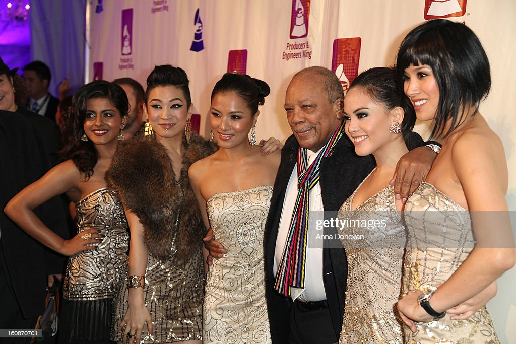 Blush band and <a gi-track='captionPersonalityLinkClicked' href=/galleries/search?phrase=Quincy+Jones&family=editorial&specificpeople=171797 ng-click='$event.stopPropagation()'>Quincy Jones</a>(center) attend the producers & engineers wing of the recording Academy's 6th Annual GRAMMY Event 'An Evening Of Jazz' at The Village Recording Studios on February 6, 2013 in Los Angeles, California.