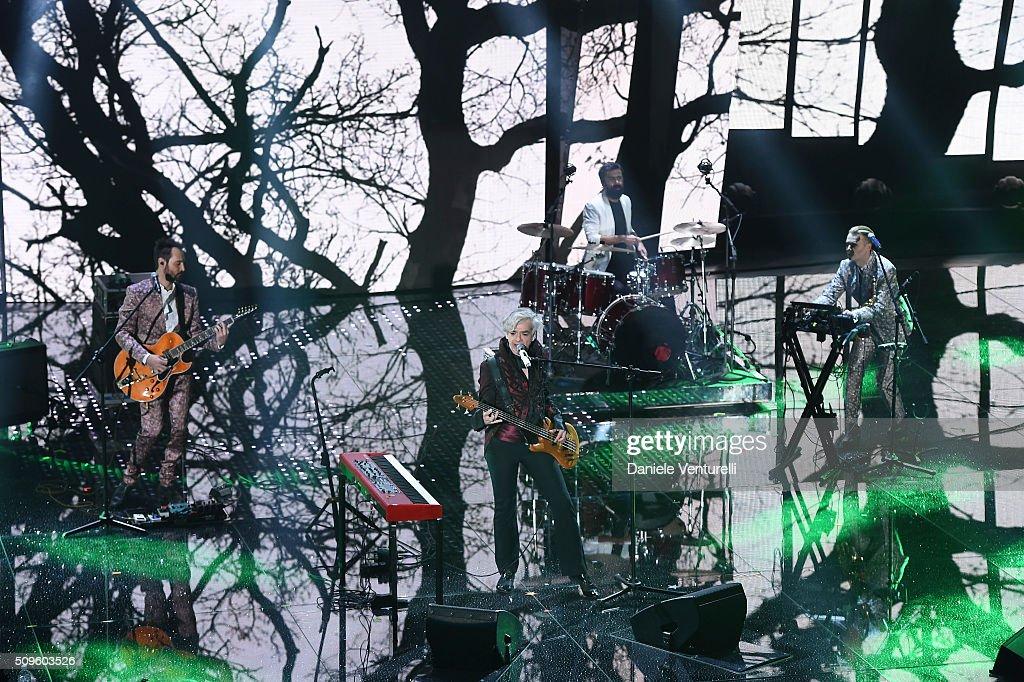 Bluvertigo attends the third night of the 66th Festival di Sanremo 2016 at Teatro Ariston on February 11, 2016 in Sanremo, Italy.