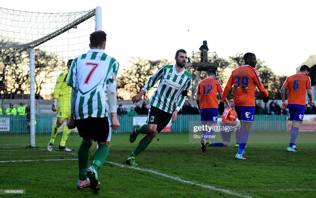 Blyth player Robert Dale celebrates after scoring the opening goal during the FA Cup Third Round match between Blyth Spartans and Birmingham City at...