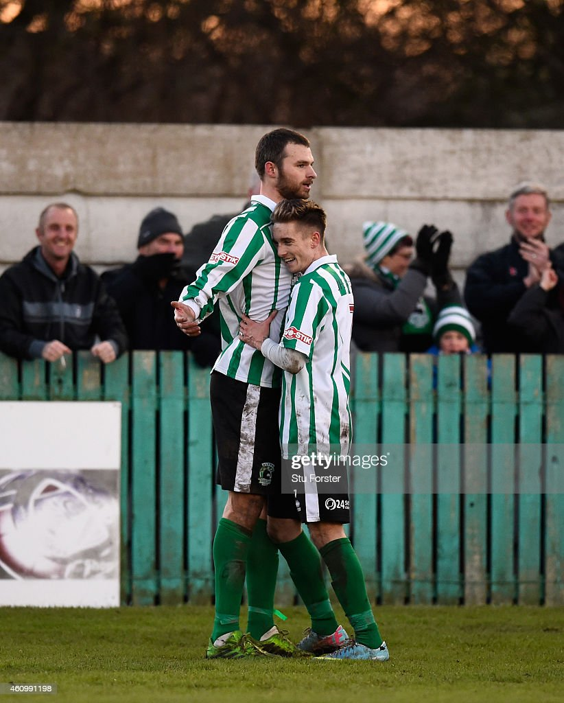 Blyth player Robert Dale celebrates his second goal with Jarrett Rivers (r) during the FA Cup Third Round match between Blyth Spartans and Birmingham City at Croft Park on January 3, 2015 in Blyth, England.