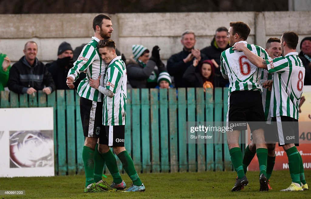 Blyth player Robert Dale celebrates his second goal with Jarrett Rivers during the FA Cup Third Round match between Blyth Spartans and Birmingham...