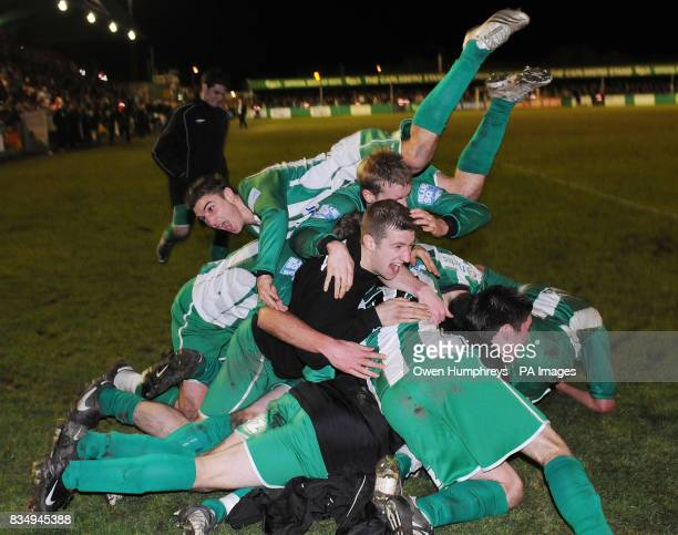 Blyth players celebrate Ged Dalton goal during the FA Cup Second Round Replay at Croft Park Blyth