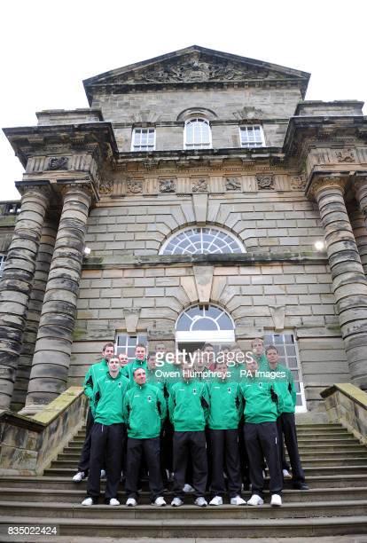 Blyth Spartans FC pose in front Seaton Delaval Hall Seaton Sluice