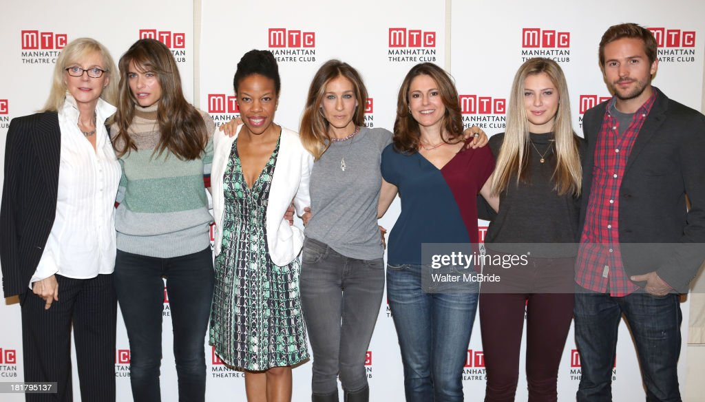 Blythe Danner, Playwright Amanda Peet, Nilaja Sun, Sarah Jessica Parker, Ali Marsh, Zoe Levin and Michael Stahl-David attending the Meet & Greet for the MTC Production of 'The Commons of Pensacola' at the Manhattan Theatre Club Rehearsal Studios on September 25, 2013 in New York City.