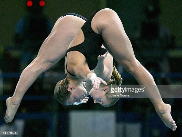Blythe Hartley and Emilie Heymans of Canada compete in the women's synchronised diving 10 metre platform event on August 16 2004 during the Athens...