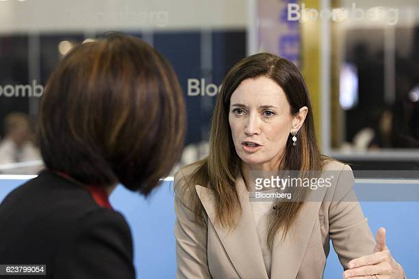 Blythe Masters chief executive officer of Digital Assets Holdings LLC speaks during a Bloomberg Television interview at the Singapore Fintech...