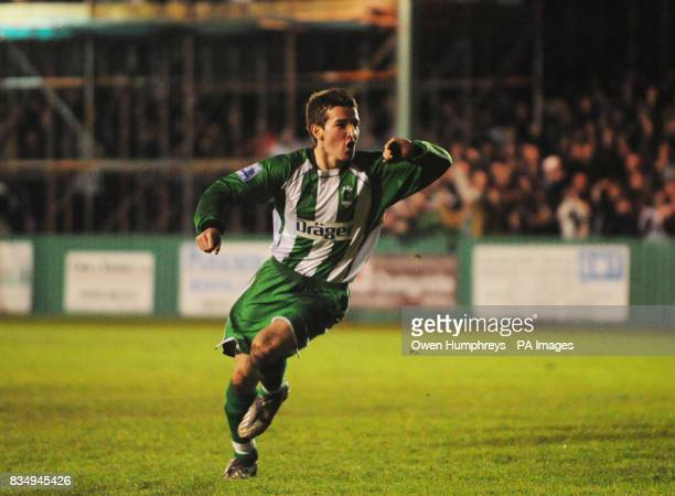 Blyth's Ged Dalton celebrates scoring during the FA Cup Second Round Replay at Croft Park Blyth