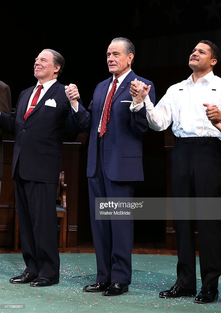 BMichael McKean, Bryan Cranston and Brandon J. Dirden during the Broadway opening night performance curtain call for 'All The Way' at The Neil Simon Theatre on March 6, 2014 in New York City.