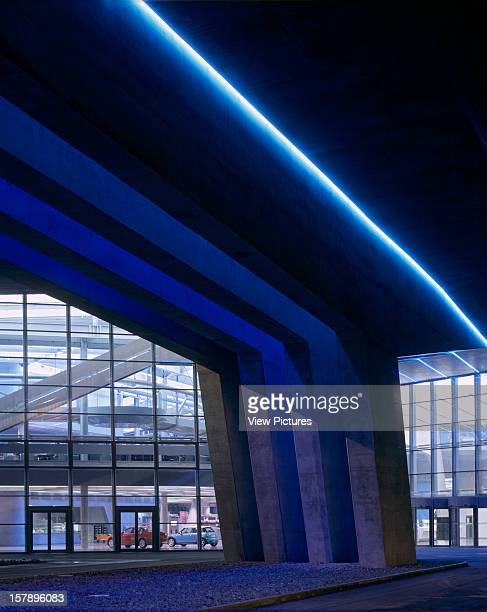 Bmw Plant Leipzig Central Building Leipzig Germany Architect Zaha Hadid Bmw Plant Leipzig Central Building Night View Entrance With Blue Neon