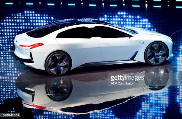 A BMWi Vision Dynamic allelectric concept car is presented on stage during a show at the stand of German carmaker BMW at the Frankfurt Motor Show IAA...