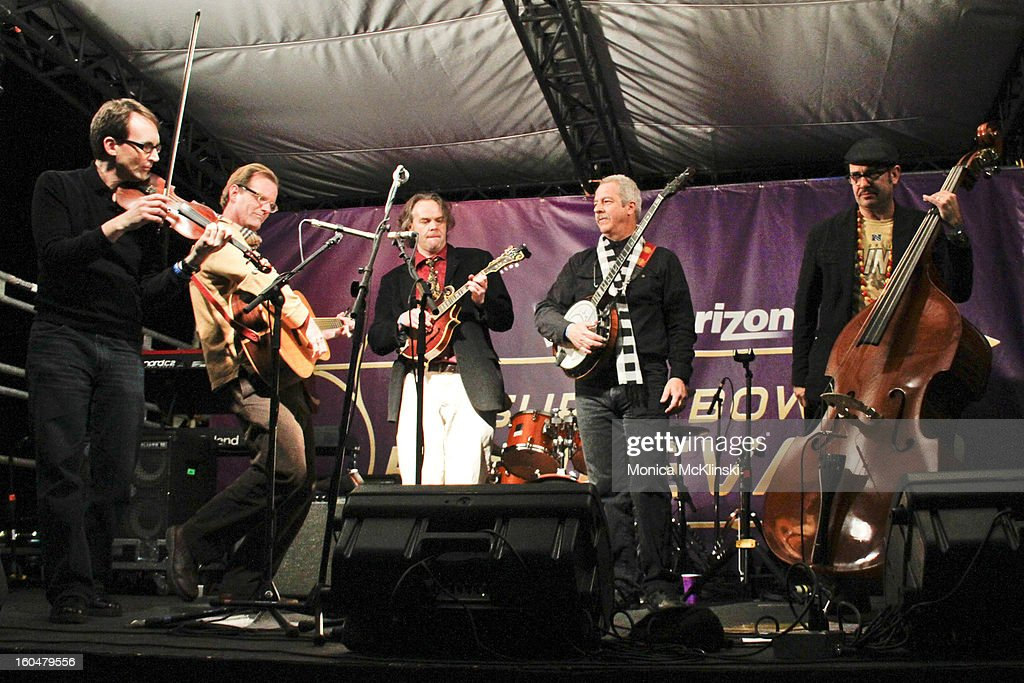BNathan Lambertson, Violinist Matt Rhody and Guitarist John R of The Hot Club of New Orleans perform during the Verizon Super Bowl Boulevard at Woldenberg Park on January 31, 2013 in New Orleans, Louisiana.