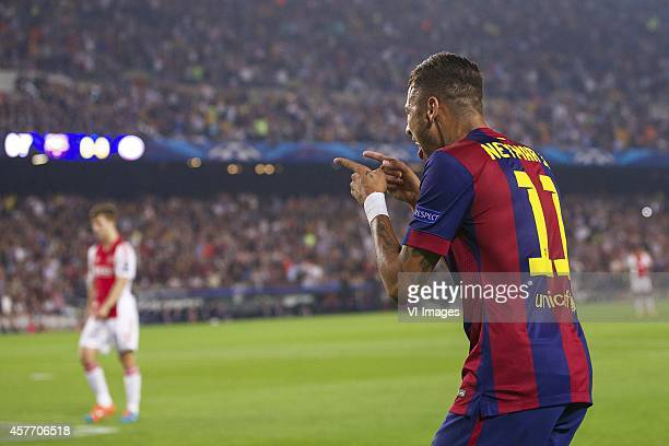 bNeymar of FC Barcelona during the group F Champions League match between Barcelona and Ajax Amsterdam on October 21 2014 at Camp Nou stadium in...