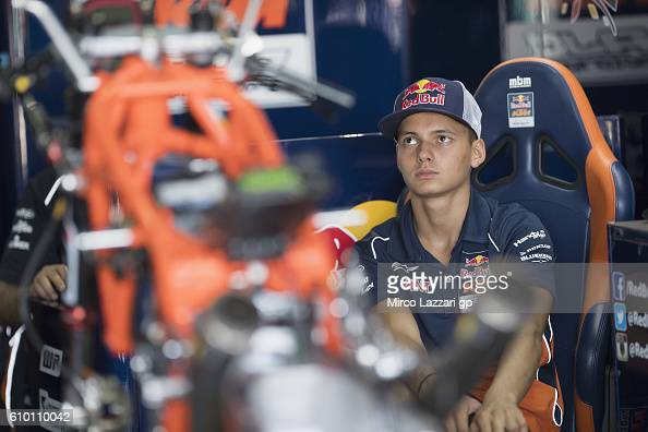 Bo Bendsneyder of Netherlands and Red Bull KTM Ajo looks on in box during the qualifying practice during the MotoGP of Spain Qualifying at Motorland...