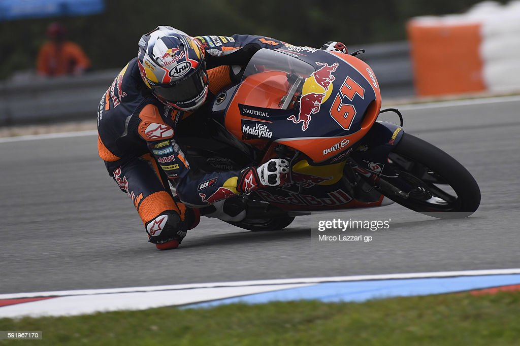 Bo Bendsneyder of Netherlands and Red Bull KTM Ajo rounds the bend during the MotoGp of Czech Republic - Free Practice at Brno Circuit on August 19, 2016 in Brno, Czech Republic.