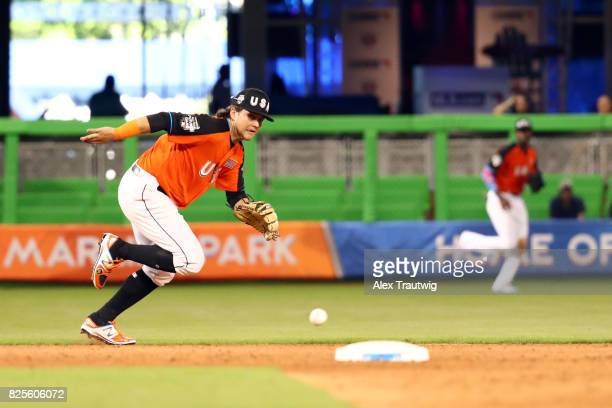 Bo Bichette of Team USA attempts to field a ground ball during the SirusXM AllStar Futures Game at Marlins Park on Sunday July 9 2017 in Miami Florida