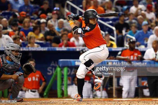 Bo Bichette of Team USA bats during SirusXM AllStar Futures Game at Marlins Park on Sunday July 9 2017 in Miami Florida