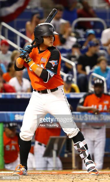 Bo Bichette of Team USA bats during the SirusXM AllStar Futures Game at Marlins Park on Sunday July 9 2017 in Miami Florida