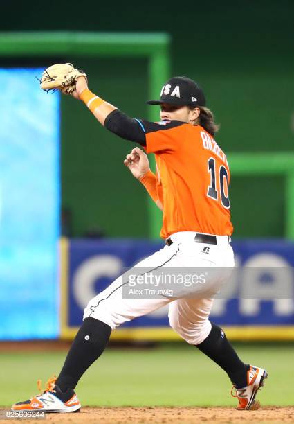 Bo Bichette of Team USA fields a ground ball during the SirusXM AllStar Futures Game at Marlins Park on Sunday July 9 2017 in Miami Florida