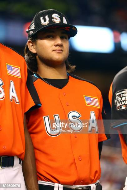 Bo Bichette of Team USA looks on during singing of the national anthem prior to the SirusXM AllStar Futures Game at Marlins Park on Sunday July 9...