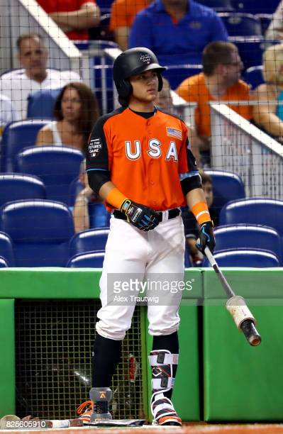 Bo Bichette of Team USA looks on during the SirusXM AllStar Futures Game at Marlins Park on Sunday July 9 2017 in Miami Florida