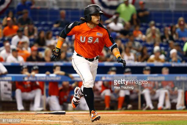 Bo Bichette of Team USA runs to first base during SirusXM AllStar Futures Game at Marlins Park on Sunday July 9 2017 in Miami Florida