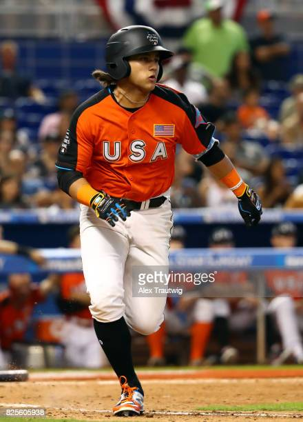 Bo Bichette of Team USA runs to first base during the SirusXM AllStar Futures Game at Marlins Park on Sunday July 9 2017 in Miami Florida
