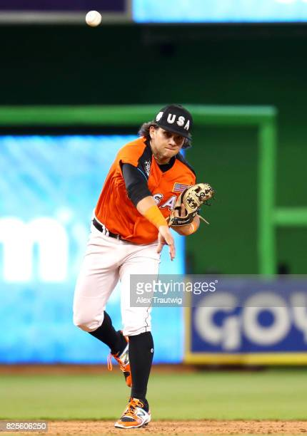Bo Bichette of Team USA throws to first base for the out during the SirusXM AllStar Futures Game at Marlins Park on Sunday July 9 2017 in Miami...