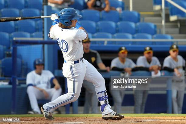 Bo Bichette of the Blue Jays at bat during the Florida State League game between the Bradenton Marauders and the Dunedin Blue Jays on July 15 at...