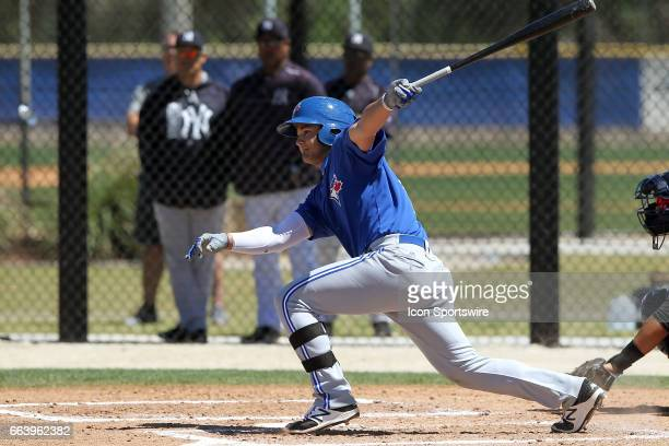 Bo Bichette of the Blue Jays at bat during the Minor League spring training game between the New York Yankees and the Toronto Blue Jays on March 20...