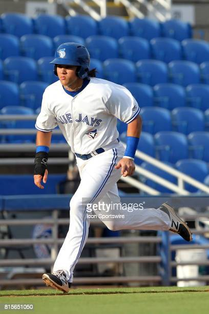 Bo Bichette of the Blue Jays hustles home to score a run during the Florida State League game between the Bradenton Marauders and the Dunedin Blue...