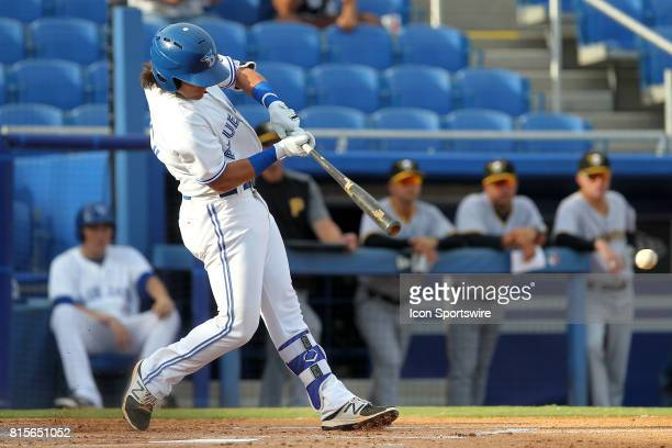 Bo Bichette of the Blue Jays lines a pitch to the outfield during the Florida State League game between the Bradenton Marauders and the Dunedin Blue...