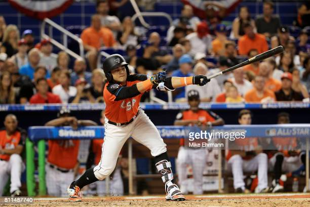 Bo Bichette of the Toronto Blue Jays and the US Team bats against the World Team during the SiriusXM AllStar Futures Game at Marlins Park on July 9...