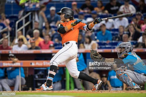 Bo Bichette of the US Team and Toronto Blue Jays bats during the SiriusXM AllStar Futures Game at Marlins Park on July 9 2017 in Miami Florida