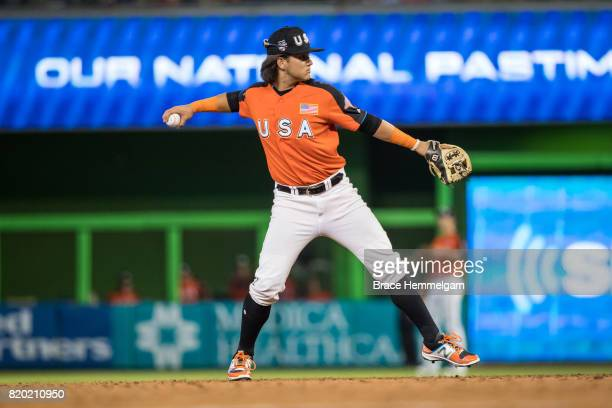 Bo Bichette of the US Team and Toronto Blue Jays throws during the SiriusXM AllStar Futures Game at Marlins Park on July 9 2017 in Miami Florida