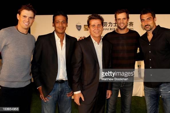 Bo Bryan of the United States Mahesh Bupathi of India ATP Executive Chairman President Brad Drewett Mike Bryan Nenad Zimonjic of Serbia pose for...