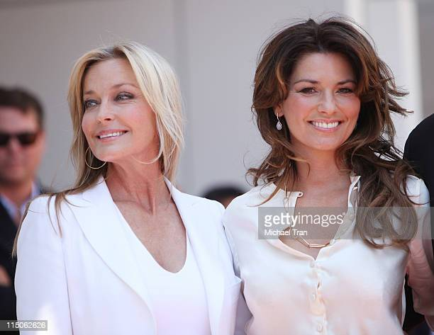 Bo Derek and Shania Twain attend the ceremony honoring Shania Twain with a Star on the Hollywood Walk of Fame held on June 2 2011 in Hollywood...