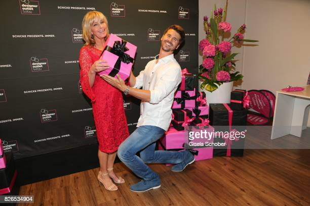Bo Derek and Thore Schoelermann during the late night shopping at Designer Outlet Soltau on August 4 2017 in Soltau Germany