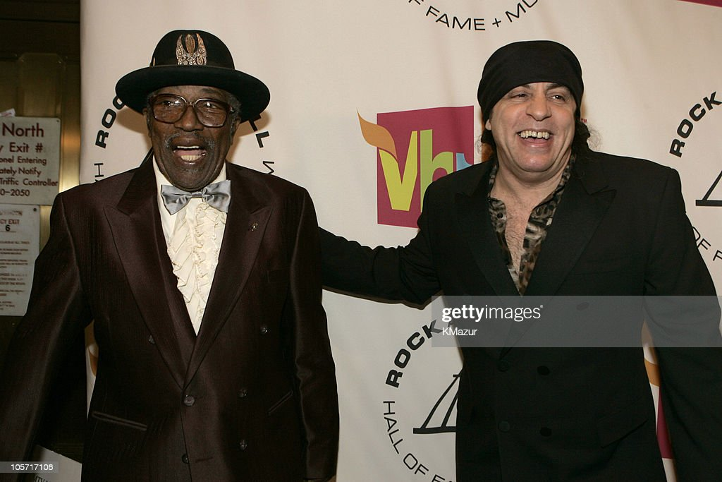 Bo Diddley and Steven Van Zandt, presenter during 20th Annual Rock and Roll Hall of Fame Induction Ceremony - Red Carpet at Waldorf Astoria in New York City, New York, United States.