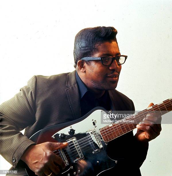 Bo Diddley poses for a portrait with his Gretsch electric guitar in circa 1957 in New York City New York
