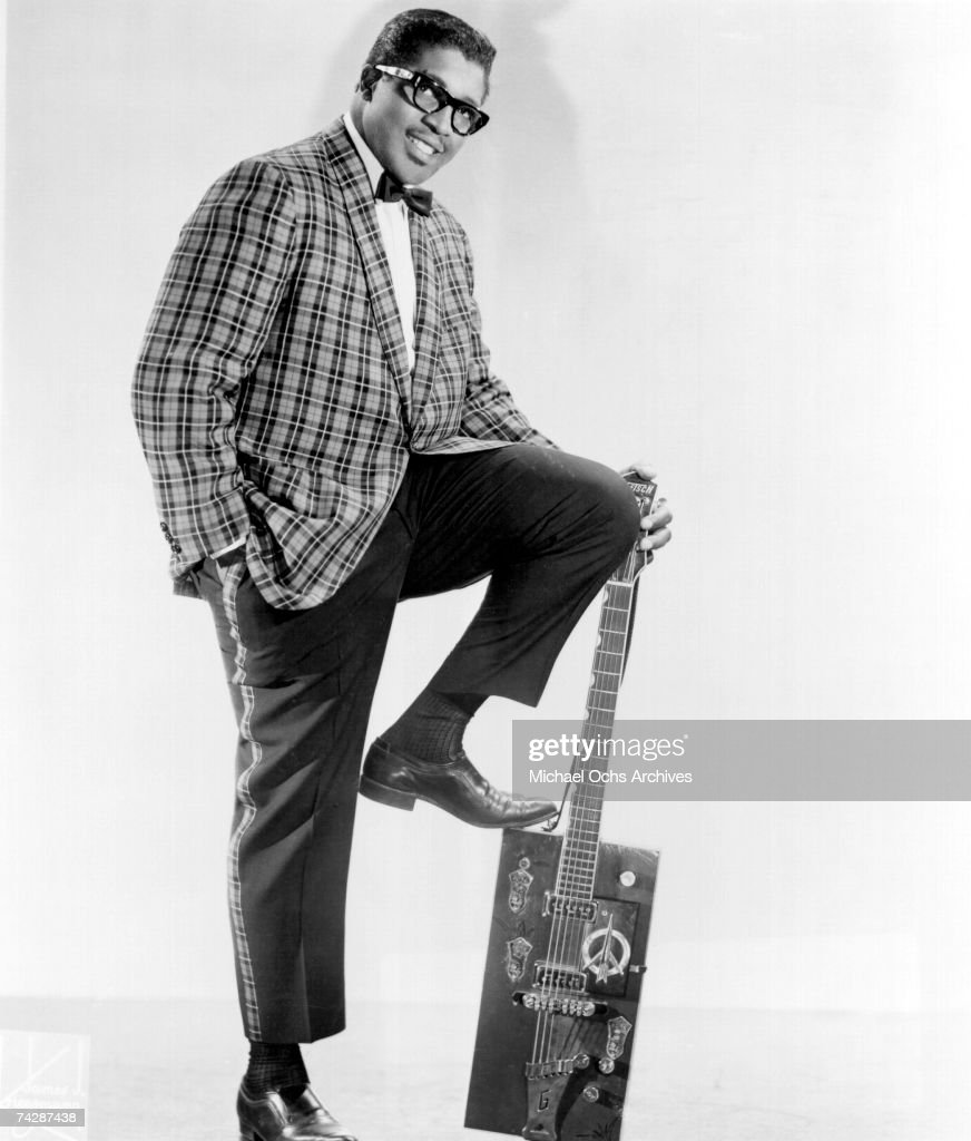 Bo Diddley poses for a portrait with his trademark square Gretsch electric guitar in circa 1957 in New York City, New York.