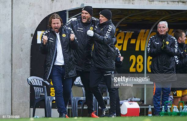 Bo Henriksen head coach of AC Horsens and Niels Lodberg assistant coach of AC Horsens celebrate after the Danish Alka Superliga match between AC...