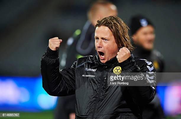 Bo Henriksen head coach of AC Horsens celebrates after scoring their first goal during the Danish Alka Superliga match between AGF Aarhus and AC...