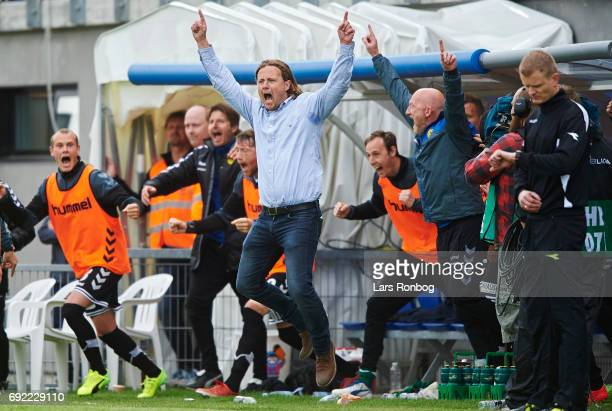 Bo Henriksen head coach of AC Horsens celebrates after scoring their third goal during the Danish Alka Superliga Playoff match between Vendsyssel FF...